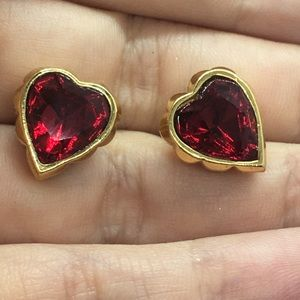 Avon heart shape red crystal gold earrings